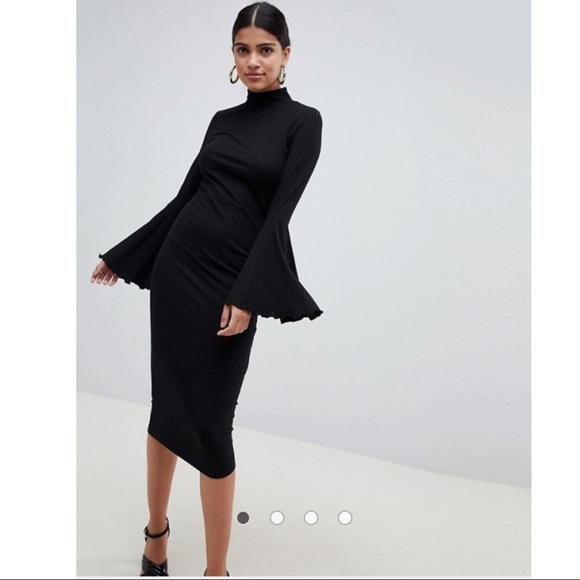 820dab90 ASOS Dresses | Midi Bodycon Dress With Frilled Sleeves | Poshmark